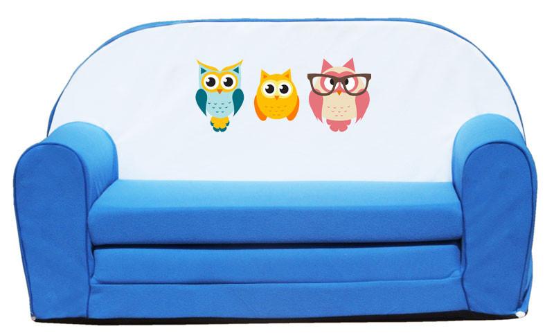 Kék 3 bagoly szivacs kanapé