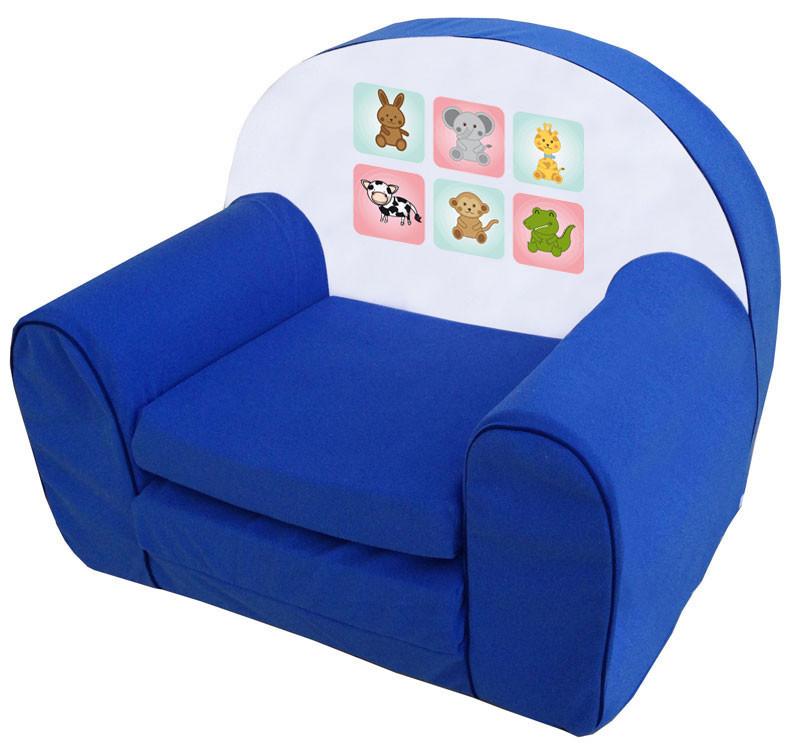 Állatkás kék szivacs fotel