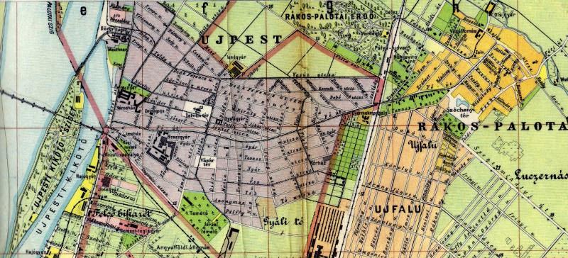 Újpest, Rákospalota térképrészlet 1910-ből
