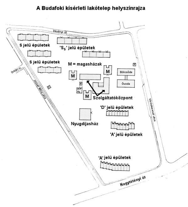Palotabarát: Budafoki kísérleti lakótelep, helyszínrajz