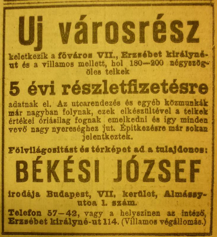 Hirdetés 1912-ből