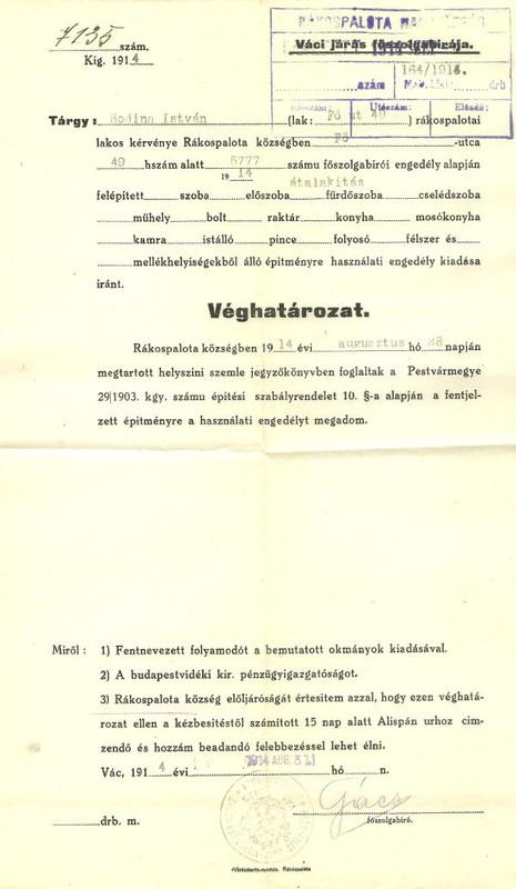 Véghatározat 1914-ből