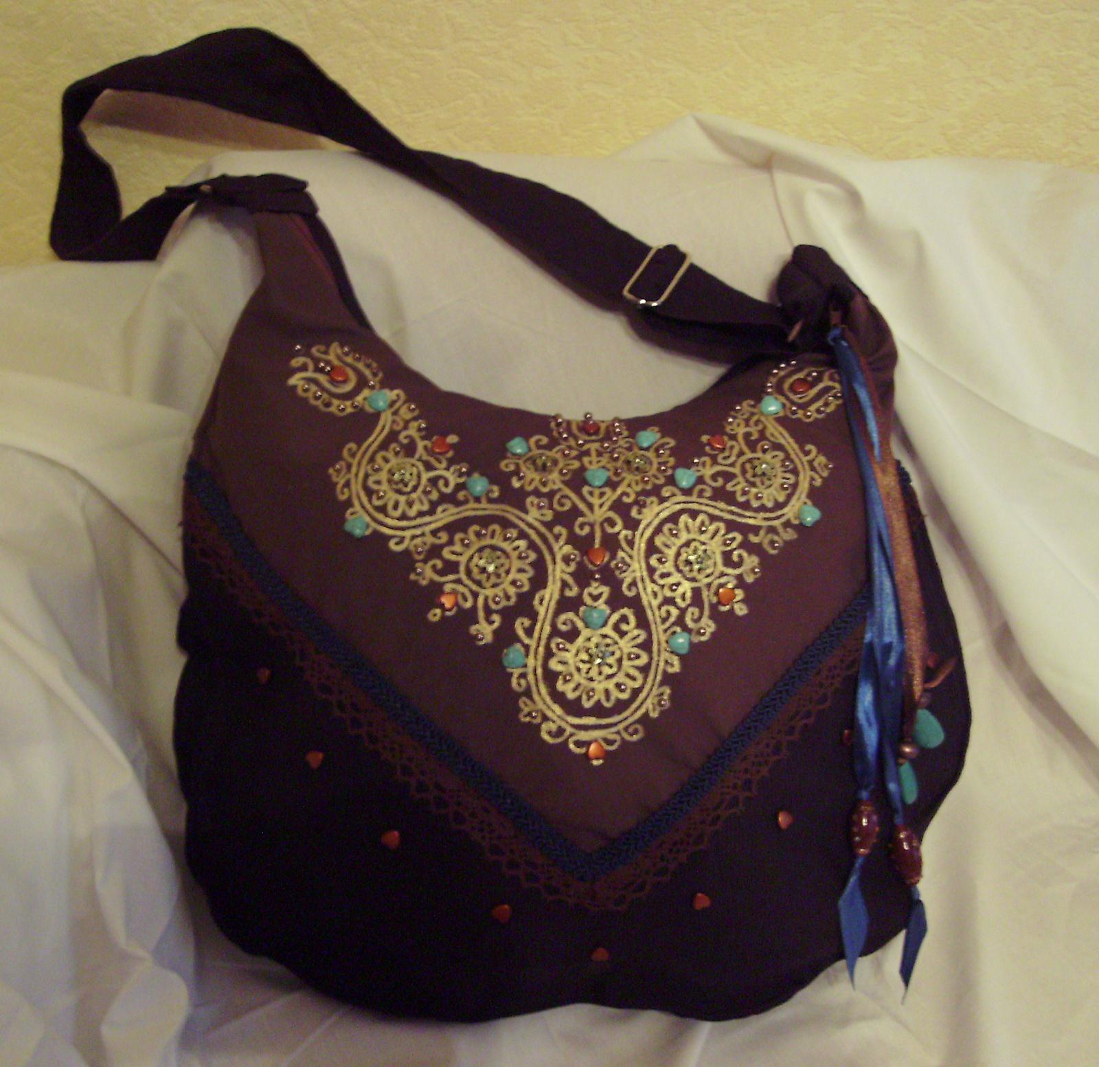 06 Barna-türkisz virágos táska