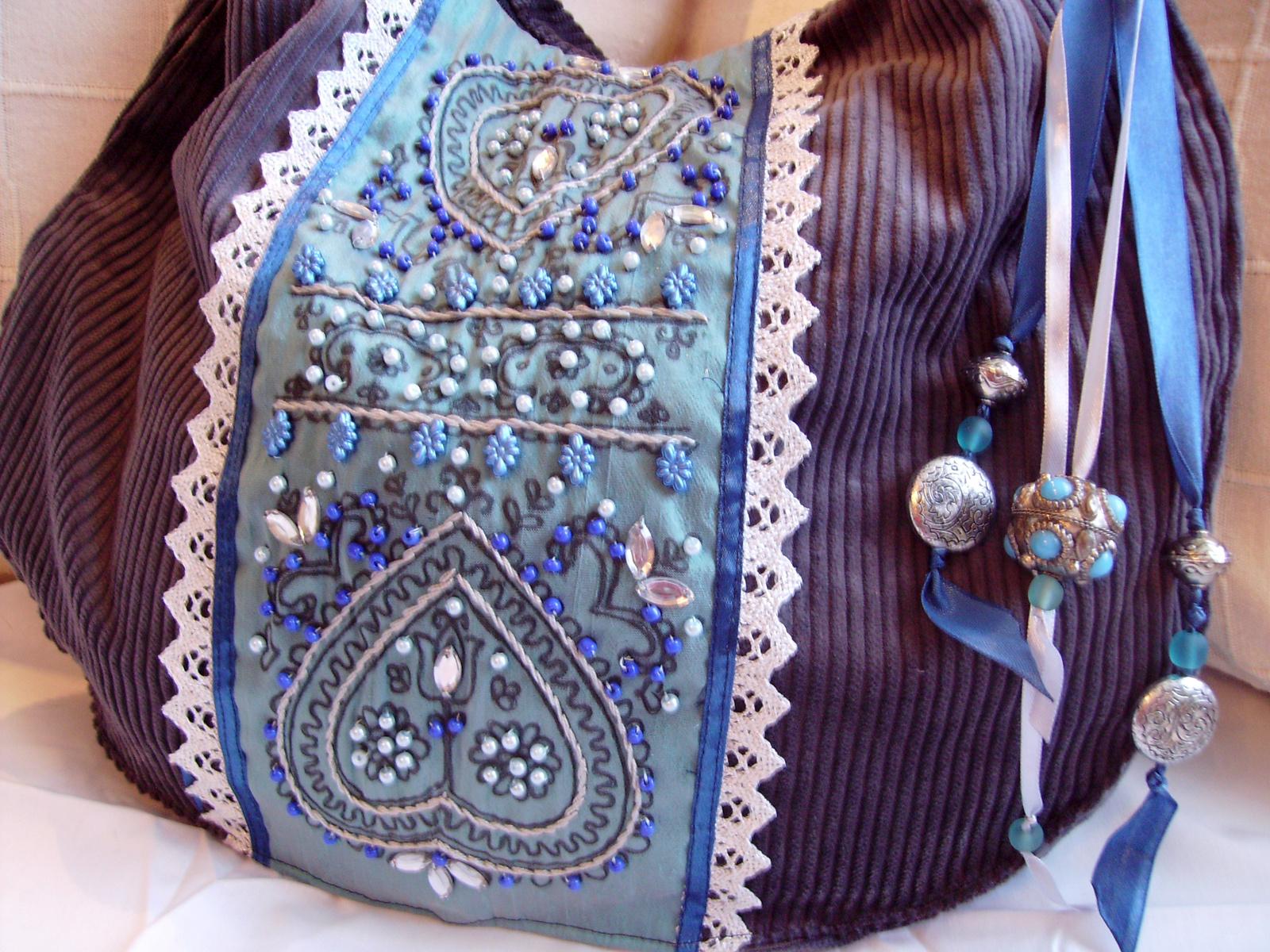02 Kék-szürke kord táska