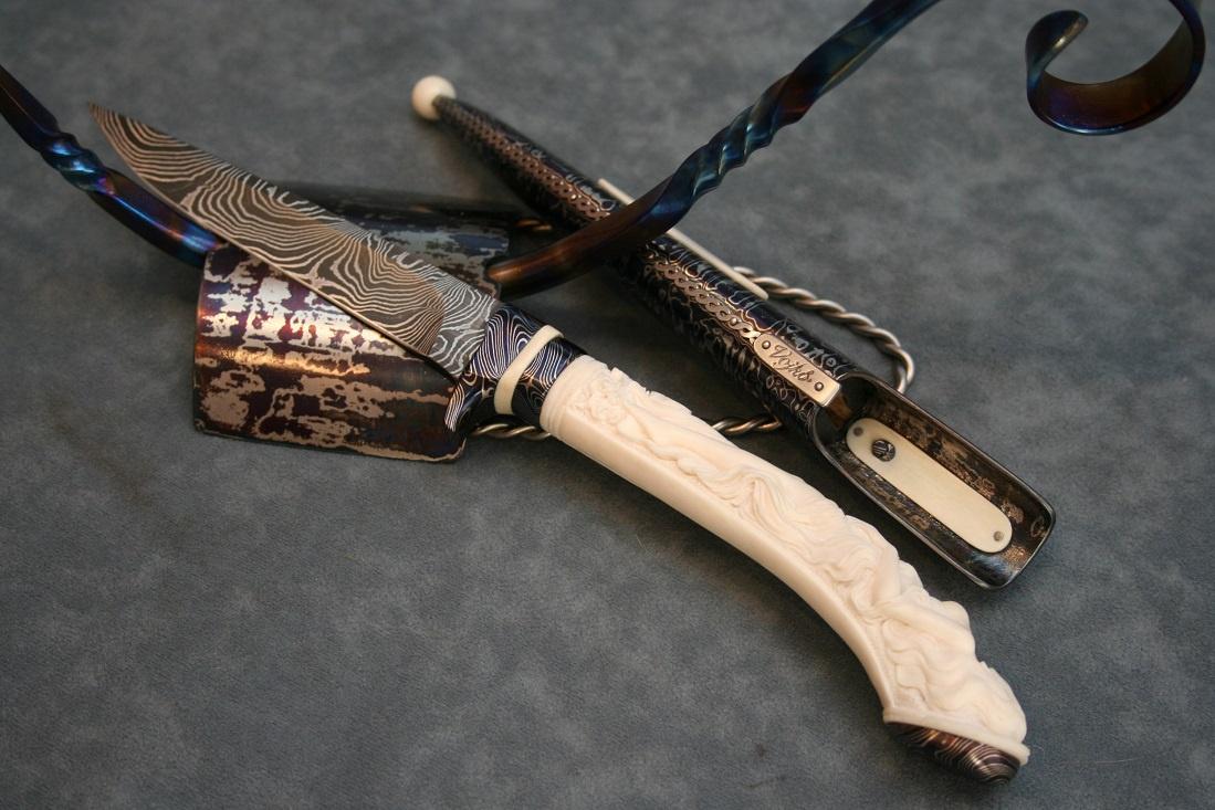 Damascus knife with Mammoth tusk   | BladeForums com