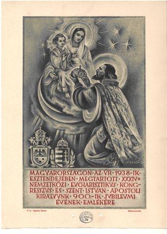 Emléklap az 1938-as budapesti Eucharisztikus Kongresszus