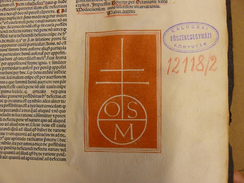 Capreolus második kötetében található régi jelzet és pecsét a kö