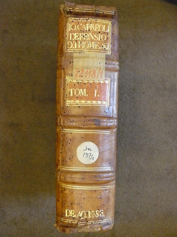 Capreolus első kötetének 18. században restaurált gerince raktár