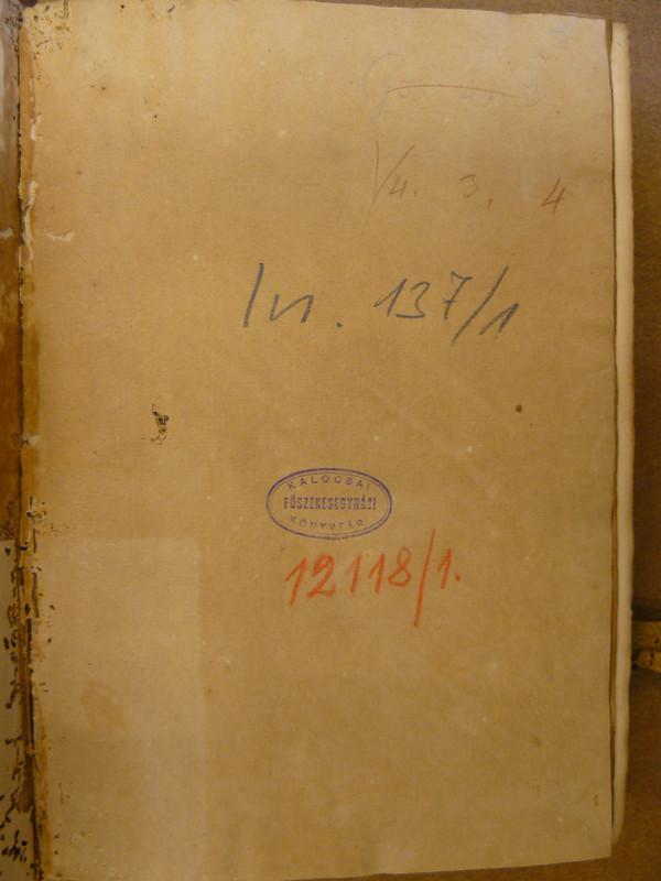 Capreolus első kötetének raktári jelzetei és a kalocsai pecsét