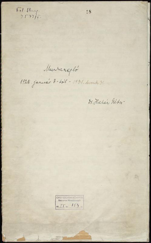 Halász Gábor kézirattári munkanaplója