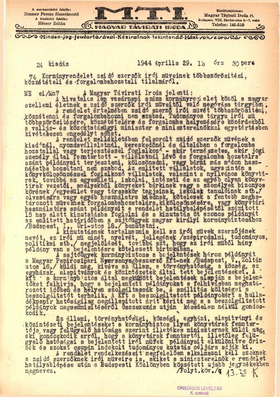 MTI 1944. április 29.