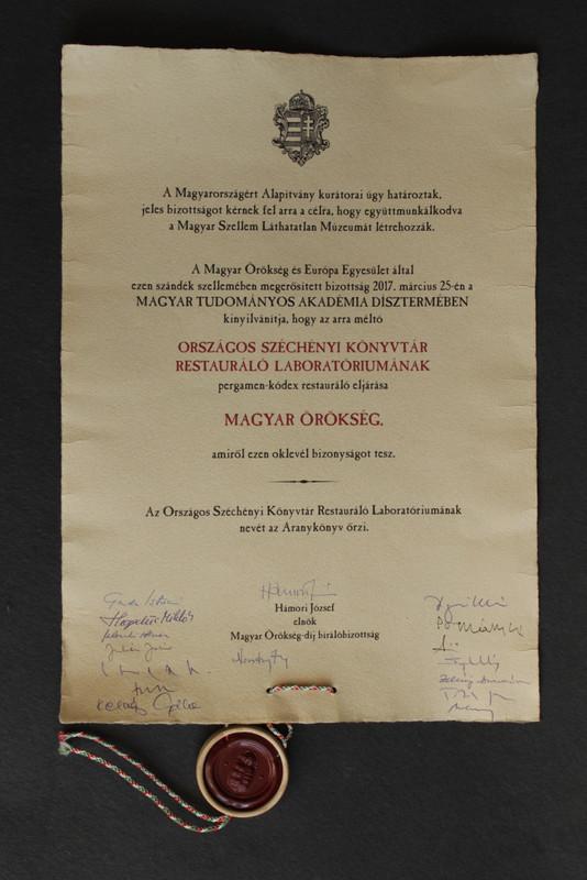 A Széchényi Könyvtár oklevele