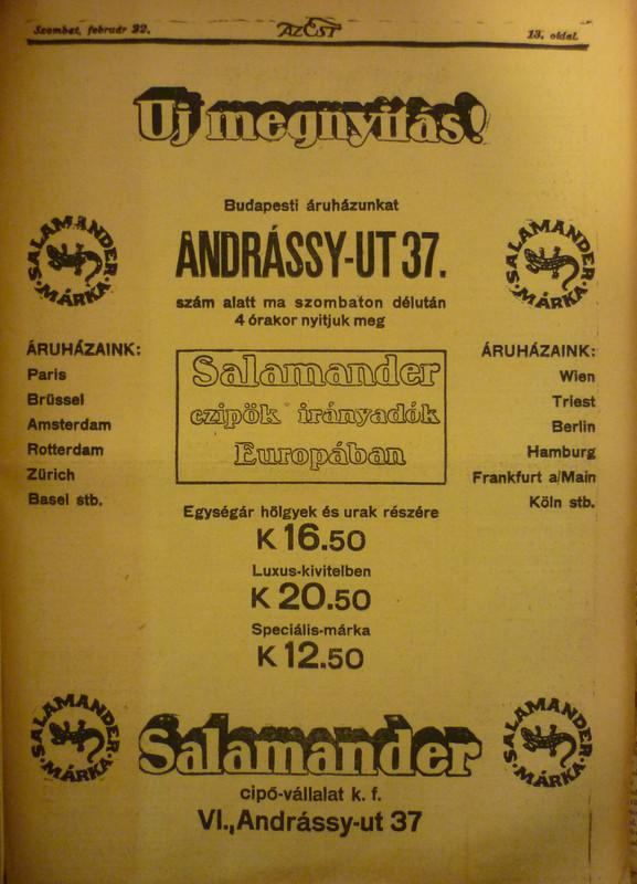 fovarosi.blog.hu: AndrassyUt37-1913Februar-AzEstHirdetes