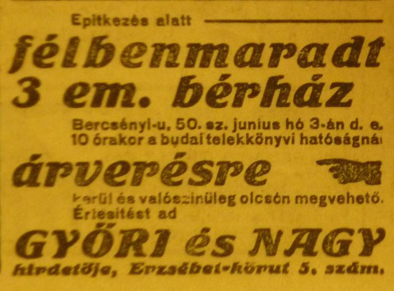 fovarosi.blog.hu: BercsenyiUtca50-1913Majus-AzEstHirdetes