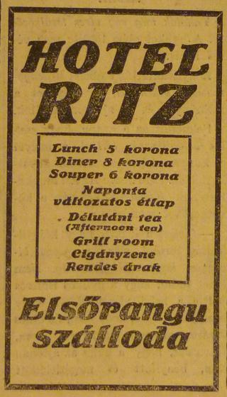 fovarosi.blog.hu: Dunapalota-RitzSzallo-1913Februar-AzEstHirdetes
