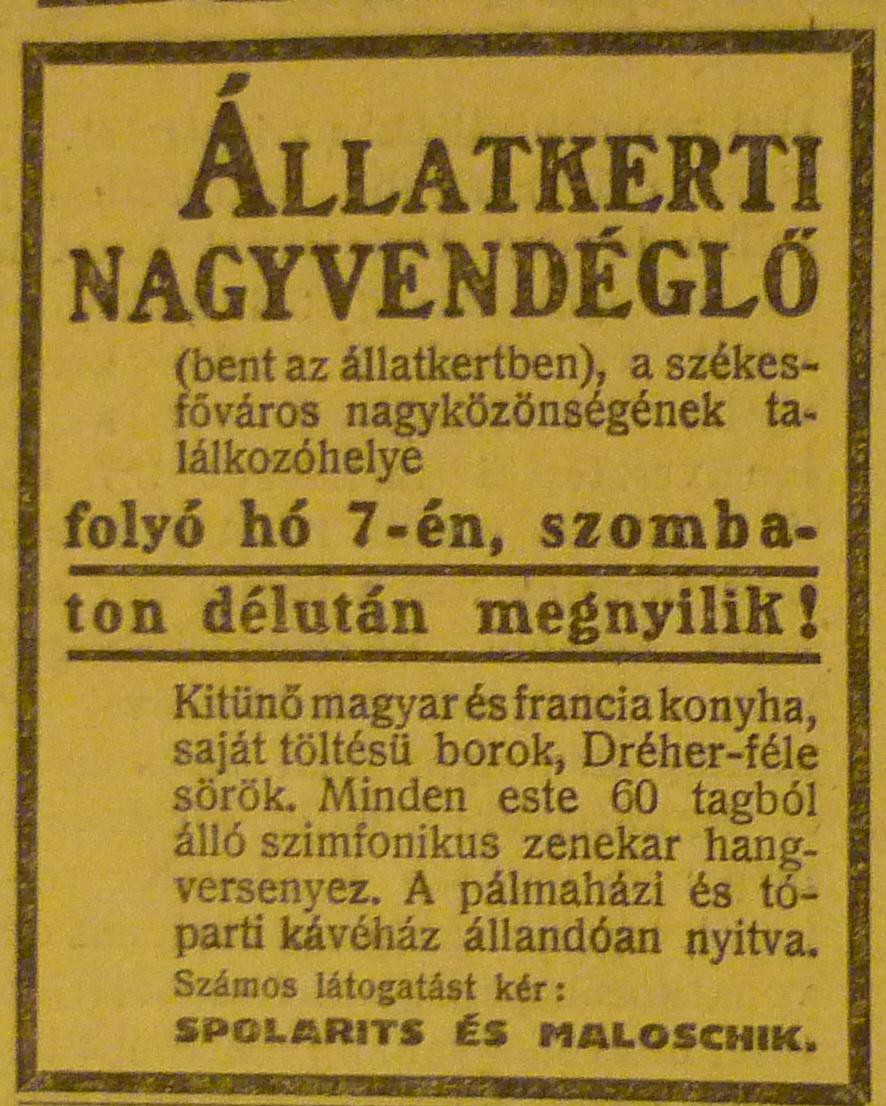 fovarosi.blog.hu: Gundel-1913Junius-AzEstHirdetes