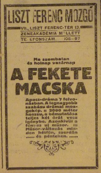 fovarosi.blog.hu: LisztFerencTer13-LisztMozgo-1913Januar-AzEstHirdetes