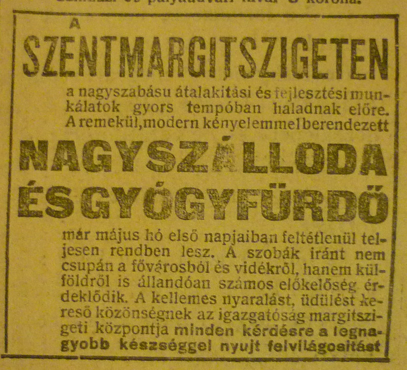 fovarosi.blog.hu: MargitszigetiNagyszallo-1913Majus-AzEstHirdetes