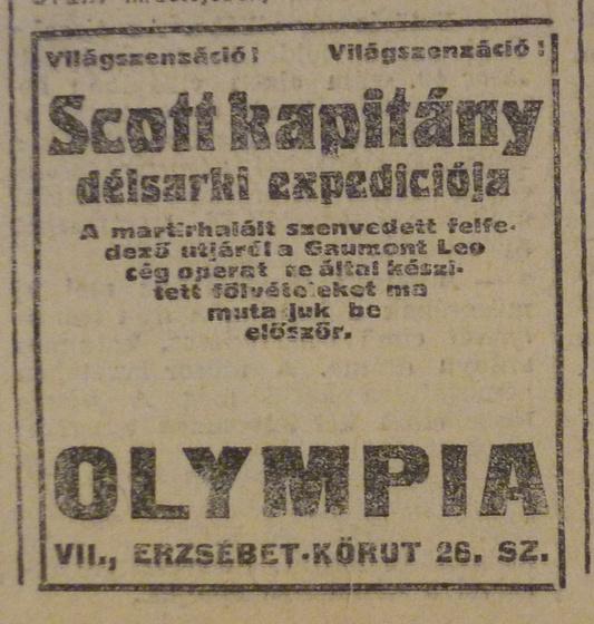 fovarosi.blog.hu: OlympiaMozi-ErzsebetKrt26-1913Marcius-AzEstHirdetes