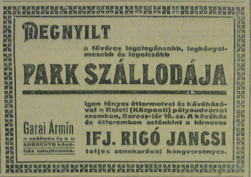 fovarosi.blog.hu: ParkSzallo-1913Szeptember-AzEstHirdetes