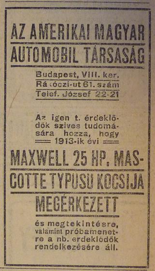 fovarosi.blog.hu: RakocziUt61-1913Aprilis-AzEstHirdetes