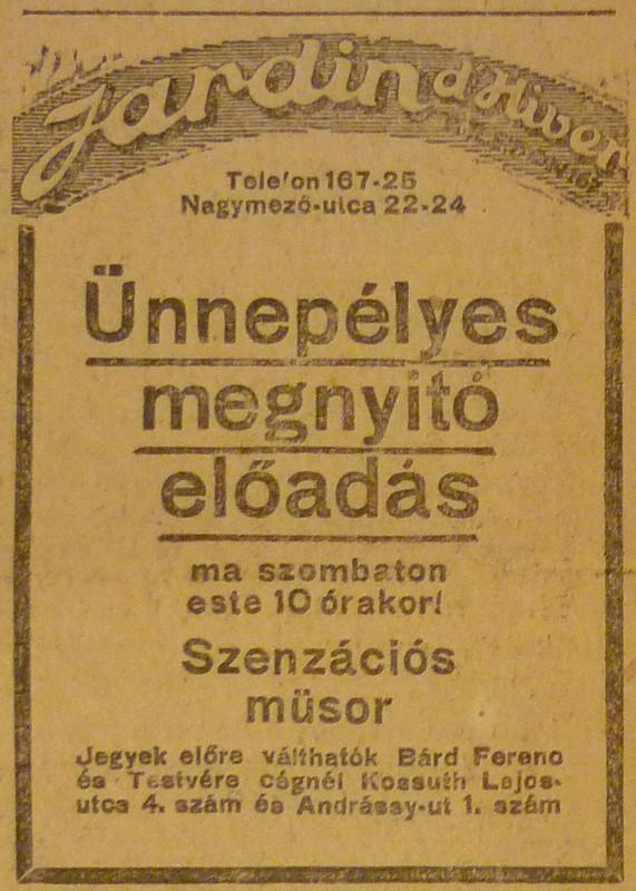 fovarosi.blog.hu: ThaliaSzinhaz-1913December-AzEstHirdetes-JardinDHiver