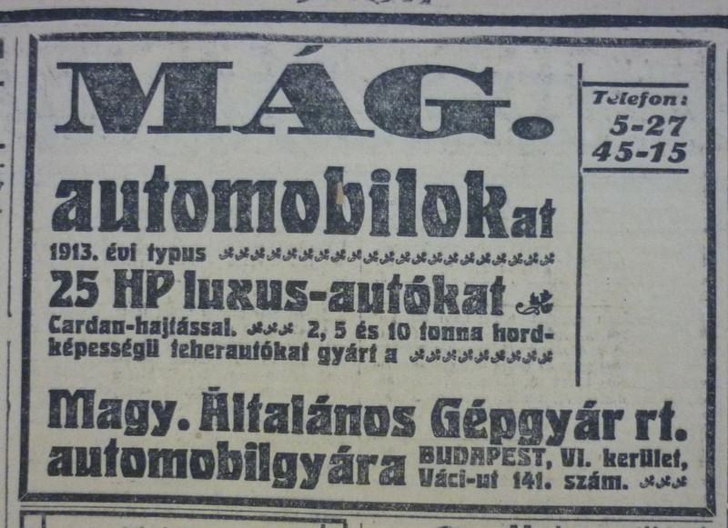 fovarosi.blog.hu: VaciUt141-MAGAutomobilok-1913Jan-AzEstHirdetes