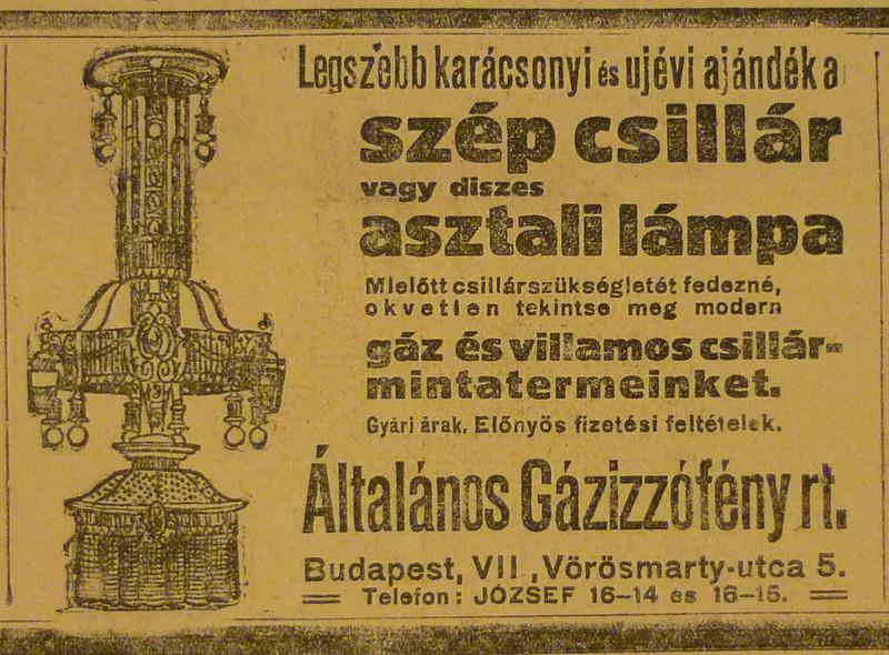 fovarosi.blog.hu: VorosmartyUtca5-Gazizzofeny-1913December-AzEstHirdetes
