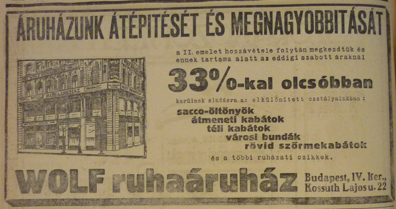 fovarosi.blog.hu: WolfAruhaz-KossuthLajosUtca22-1913November-AzEstHirdetes