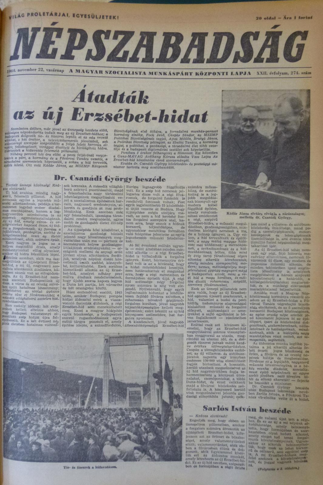 fovarosi.blog.hu: ErzsebetHid-19641122-Nepszabadsag-01 - indafoto.hu