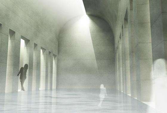 Tervezett új épületszárny medenceterének belső nézete