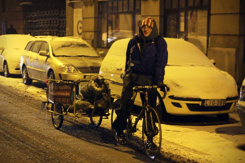 Karácsonyfa biciklivel szállítva