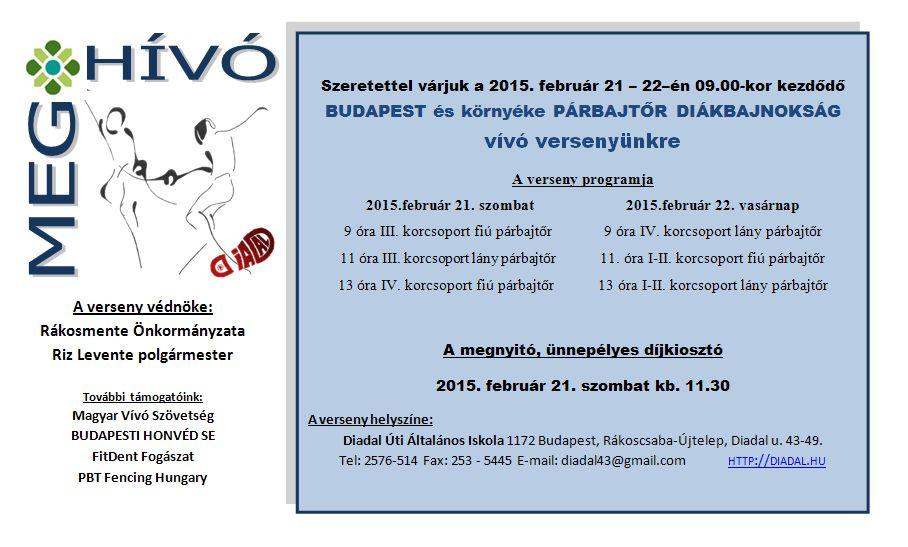 Meghívó Budapest Párbajtőr Diákbajnokság 2015.