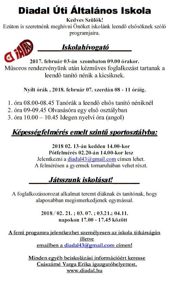 Diadal Úti Általános Iskola: beiskolázás2 - indafoto.hu