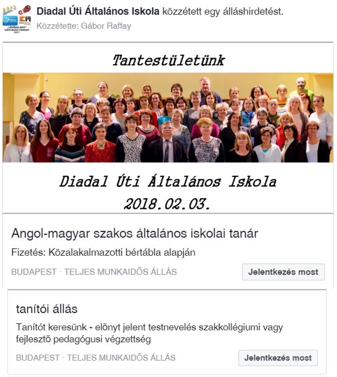 Diadal Úti Általános Iskola: álláshirdetés.png - indafoto.hu