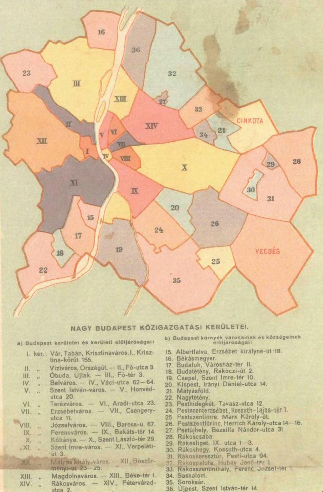 Budapest közigazgatás 1947