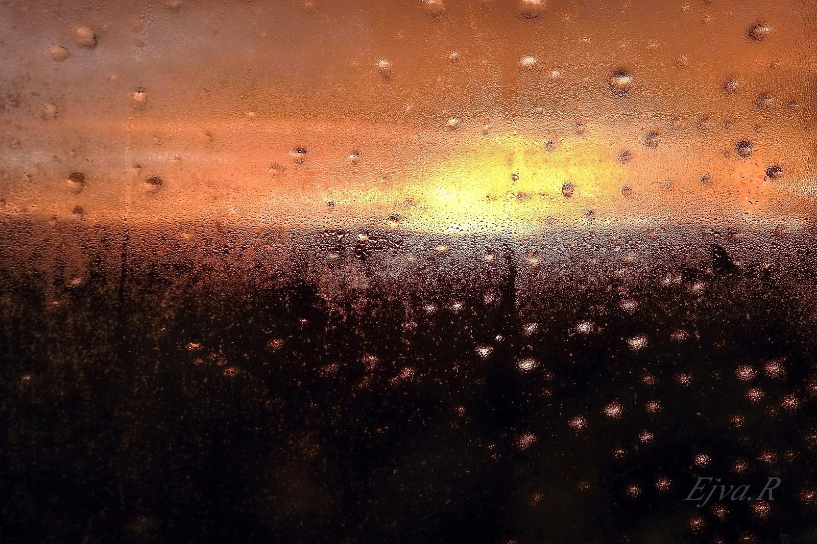 Alkonyat Párás Esős Ablaküveg