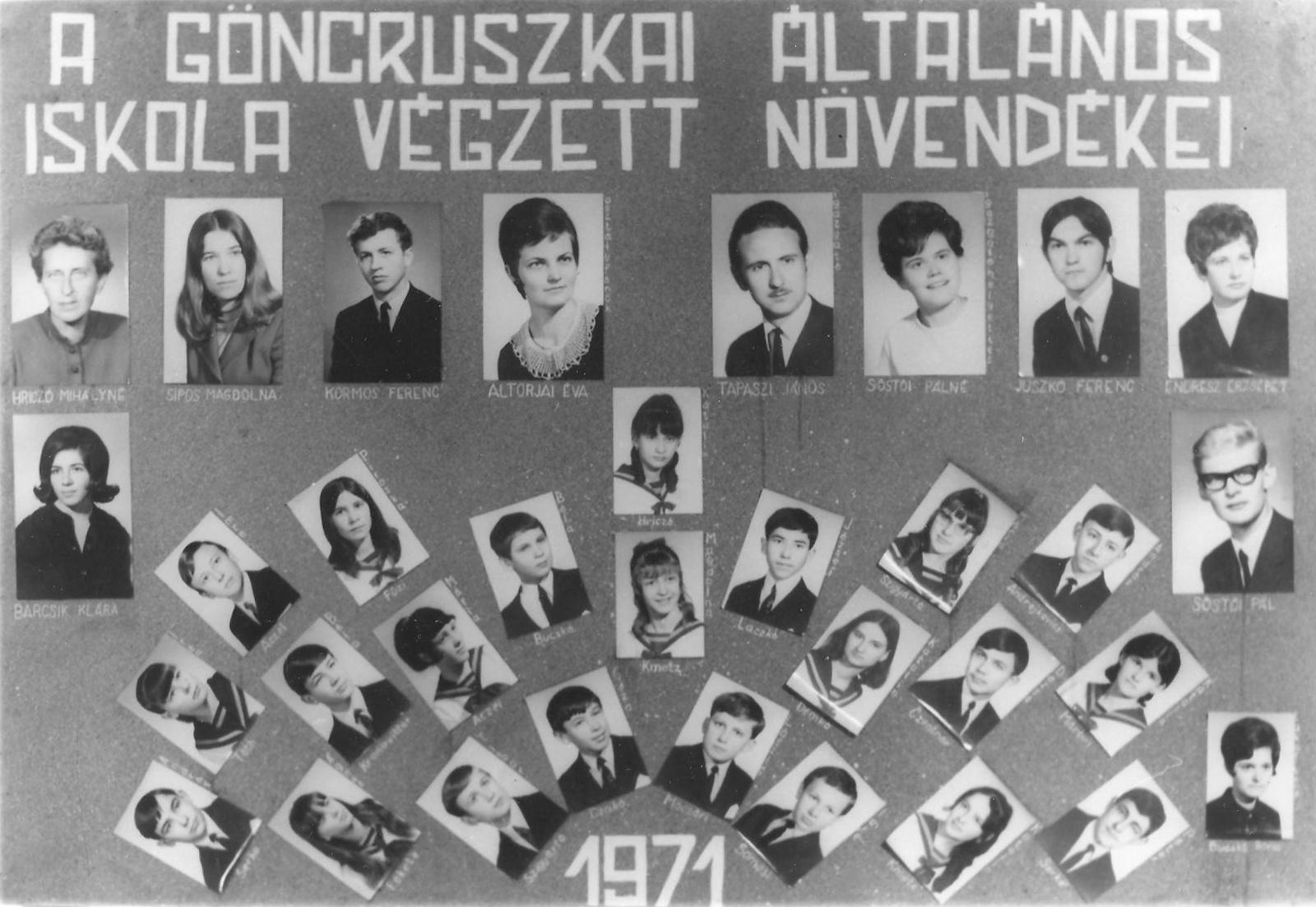 Ált. Iskola Göncruszka 1971.