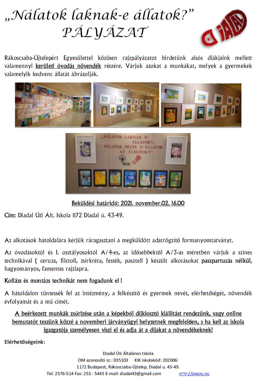Diadal Úti Általános Iskola: plakát Nálatok laknak-e 2021.png - indafoto.hu