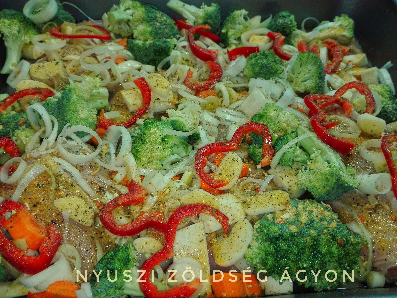 nyuszi zöldségágyon
